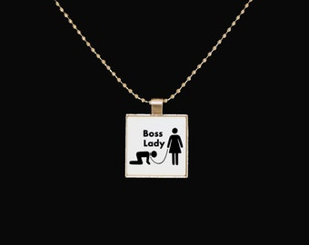 Boss lady pendant, silver pendant, boss lady, BDSM, dominatrix, statement necklace, novelty jewelry, gifts for her, square pendant, sarcasm