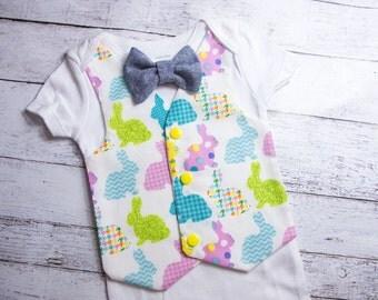 Easter Bunny Vest Bodysuit: baby boy Easter outfit, Bunny vest bodysuit, Easter vest