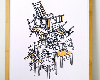 Screen printed poster 11x14, Pile of chairs, 30 numbered copies