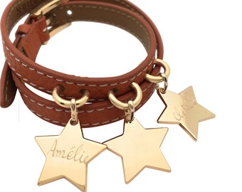 Leather strap double towers with charms plated gold, to customize