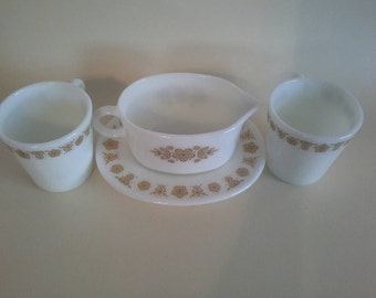 Vintage Pyrex Butterfly Gold D Handle Coffee Mugs and Matching Gravy Boat Set