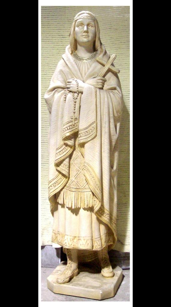 "St. Kateri Tekakwitha ""Lily of the Mohawks"" 60"" Fiberglass Statue (SALE)"