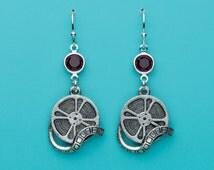 Film Reel Earrings, Red Crystal Earrings, Movie Buff Earrings, Filmmaker Earrings, Dangle Earrings, Gifts for Her, 138