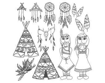 Tribal Coloring Page - Printable Coloring Page, Adult Coloring Page, Aztec Coloring, Indian Coloring, Tribal Print, American Indians, Color