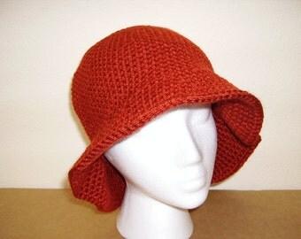 Terracotta Adult Acrylic Crochet Hat