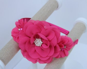 Fuchsia headband, hot pink headbands, hot pink flower girl headband, hot pink wedding headband fuchsia headband, hot pink girls headband