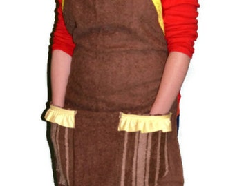 ON SALE, Brown Apron, Homemade Apron, Repurposed Apron, Ready to Ship,Towel Apron