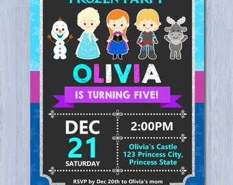 Frozen Birthday Invitation, Frozen Invitation, Frozen Party Invitation
