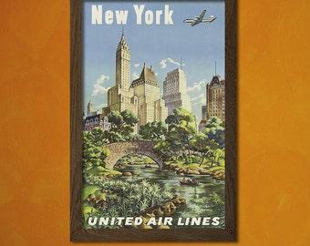 New York Travel Print 1940s - Vintage Travel Poster New York Poster Travel Decor Gift Idea United Airline Poster