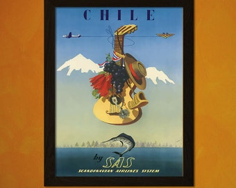 Chile Travel Print - Vintage Travel Poster Retro Wall Decor Home Decor Travel Chile Poster Sas Poster Che Print