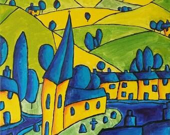 "Original Painting, Original Landscape Painting, Art Expressionism, Original Oil Abstract Painting Canvas 12""x16"" Impressionist Art Colorist"