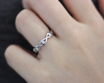0.25 Carat All Eternity Crossover Ring-Twisted Knot Infinity Band Ring-Spiral Engagement Ring-Promise Ring-925 Sterling Silver [5719]