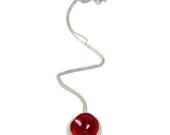 Silver and enamel circular Flourish bud pendant