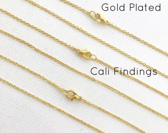 """5 Pcs GOLD PLATED 24"""" Finished Chain, Flat Shiny Cable Chain Soldered, 1.75 x 1.85mm, 5 Pieces, Wholesale, Gold Chain, Bulk Chains, 24 inch"""