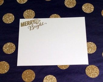 Merry and Bright/Christmas/Holidays Flat Cards and Envelopes - Gold and White - Set of 8