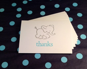 Baby Shower Thanks/Elephant Folded Note Cards and Envelopes - Silver, Blue and White - Set of 8