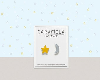 Star and Moon stud earrings Gift Idea For Her