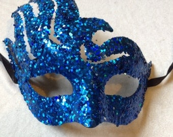 Glitter Mask 8x8 Inches Blue Masks Craft Supplies Costume Mask Costume Accessories
