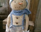Primitive shabby Snowman Winter Christmas Cloth doll Faap Hafair DTHFAAP