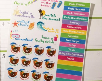 Beach / Vacation Planner Stickers (horizontal or vertical)