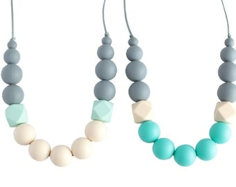 Georgia Silicone Teething Necklace, Nursing Necklace, Silicone Teether, Chew Beads, Baby Shower Mom Gift, Gray Mint Cream Turquoise Necklace
