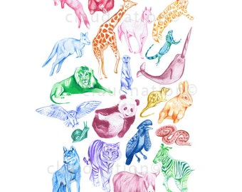 Children's A3 Wall Art Print - Alphabet Animal Kingdom- Kids Nursery Room Decor