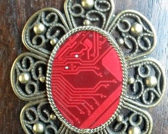 Flower with red printed circuit board 2