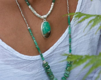 Chrysoprase + Thai Silver Necklace with Chrysoprase Pendant