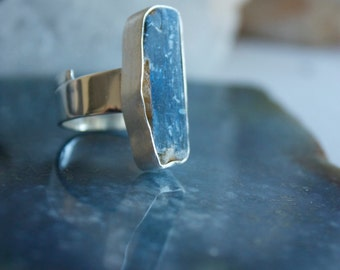 One of a Kind Raw Blue Kyanite Ring with Brushed Sterling Silver and Adjustable Band