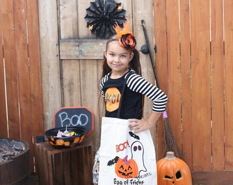 Personalized Halloween Trick or Treating Sack - halloween bag, trick or treating bag, candy tote, personalized tote, pumpkin, ghost, boo!