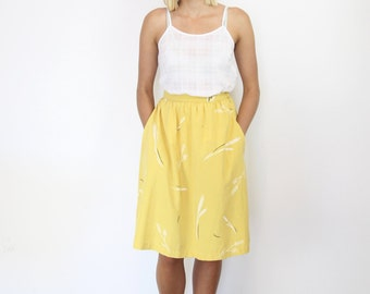 Yellow Washed Silk Midi Skirt. Women's High Waisted Hand Printed Full Spring Summer Skirt. Knee Length Floral Racing Melbourne Cup Skirt.
