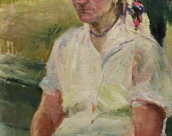 Sale 40% FEMALE PORTRAIT ORIGINAL Oil Painting by artist A.Zakharov 1970s, 23,8x17,5 inch Vintage Ukrainian Art, Unique High Quality Artwork