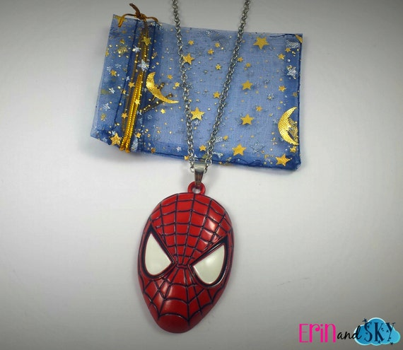 Spiderman Necklace - FREE SHIPPING - Marvel Comics Inspired Super Hero Jewelry Gift - Geeky Spider Man Comic Book Super Hero Jewelry
