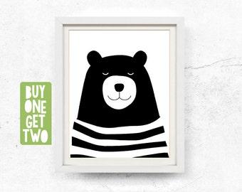Bear print, Bear illustration, Kids wall art, Black and white, Bear art print, Digital download, Prints, Nursery printable, 8x10, 11x14
