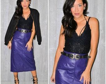Purple Leather Skirt Pencil Skirt High Waist Fall Winter Vintage 80's Size 12 Boho Hipster Modern Shiny Genuine Leather