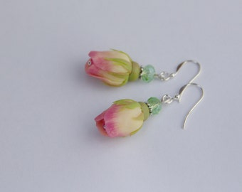 Rosebud silver earrings 925