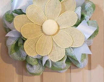 Spring Summer Paper Mesh Flower Wreath