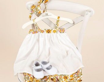 Iris (Orange) Girls Sun Dress & Bloomers Set, Includes Headband