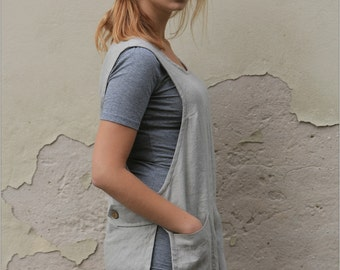 Linen apron, 100% linen tunic with pockets, linen apron dress, full linen apron, linen tunic, Sizes XXS to XXL, Washed linen apron
