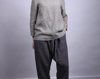 LINEN pants. Women trousers / Linen harem pants / Yoga pants / Leisure trousers