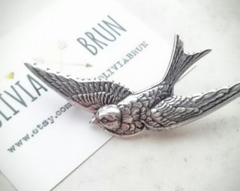 Large Silver Bird Brooch Swallow Brooch Bird Pin Swallow Pin Bird Lapel Pin Animal Brooch Silver Brooch Bridal Brooch Wedding Accessories