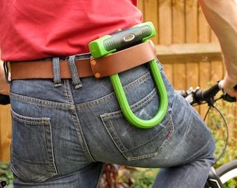 Leather & Copper Bicycle U-Lock Holster/Belt Strap.