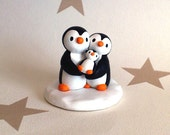 New baby penguin. Pottery penguins, new baby gift