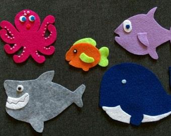 Slippery Fish Felt Set // Flannel Board Set // Preschool  // Colors // Creative Play // Imagination // Children // Pretend Play // Ocean