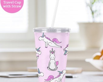 Travel Cup Unicorn Yoga Plastic Cup With Lid and Straw  - BPA FREE - Great for Smoothies - Water Cup with Straw and Top