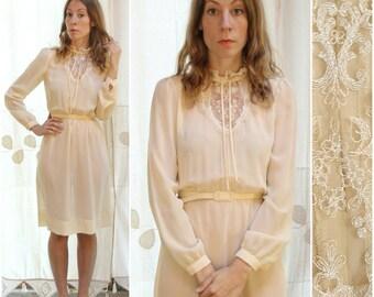 1970s Sheer Cream, Shirtwaist Midi Day Dress with Lace Collar, Neckline & Matching Belt