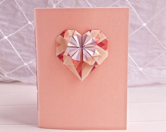 Handbound Peach Pink Heart Origami Journal (Unlined Pages)