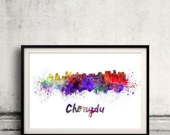 Chengdu skyline in watercolor over white background with name of city - Poster Wall art Illustration Print - SKU 1465