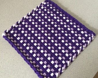 Large purple, lavender, and white woven cotton loop potholder