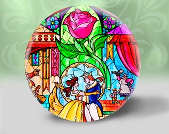 Beauty and the Beast Stained Glass Look  pocket mirror,  Shower gift, Bridal Party, Small gift,
